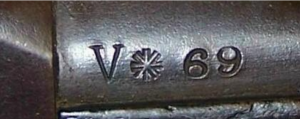 Early Volunteer Marking on a Swinburn Henry The mark between the V and the rack number is obviously a stylized Union Jack.