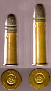 The difference between the .310 Cattle Killer cartridge on the left and the Cadet on the right.